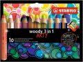 """STABILO Színes ceruza készlet, kerek, vastag, STABILO """"Woody ARTY 3 in 1"""", 10 különböző szín"""